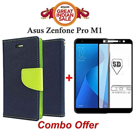 Goelectro COMBO of Blue Diary Wallet Style Flip cover with Mercury Magnetic  Lock + Tempered Glass Screen Protector for ASUS ZenFone Max Pro M1