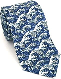 product image for Josh Bach Men's Silk Necktie, Hokusai's Japanese Wave Art Themed Tie in Blue, Made in USA