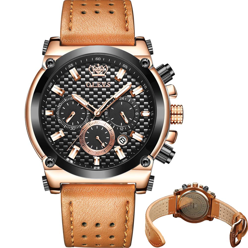 Men s Watch Luxury Upgrade Version ,Men s Chronograph Luminous Quartz Watch,Mens Dress Watch for Men with Date Calendar,Mens Rose Gold Watch with Big Face,Brown Black Blue Leather Watch