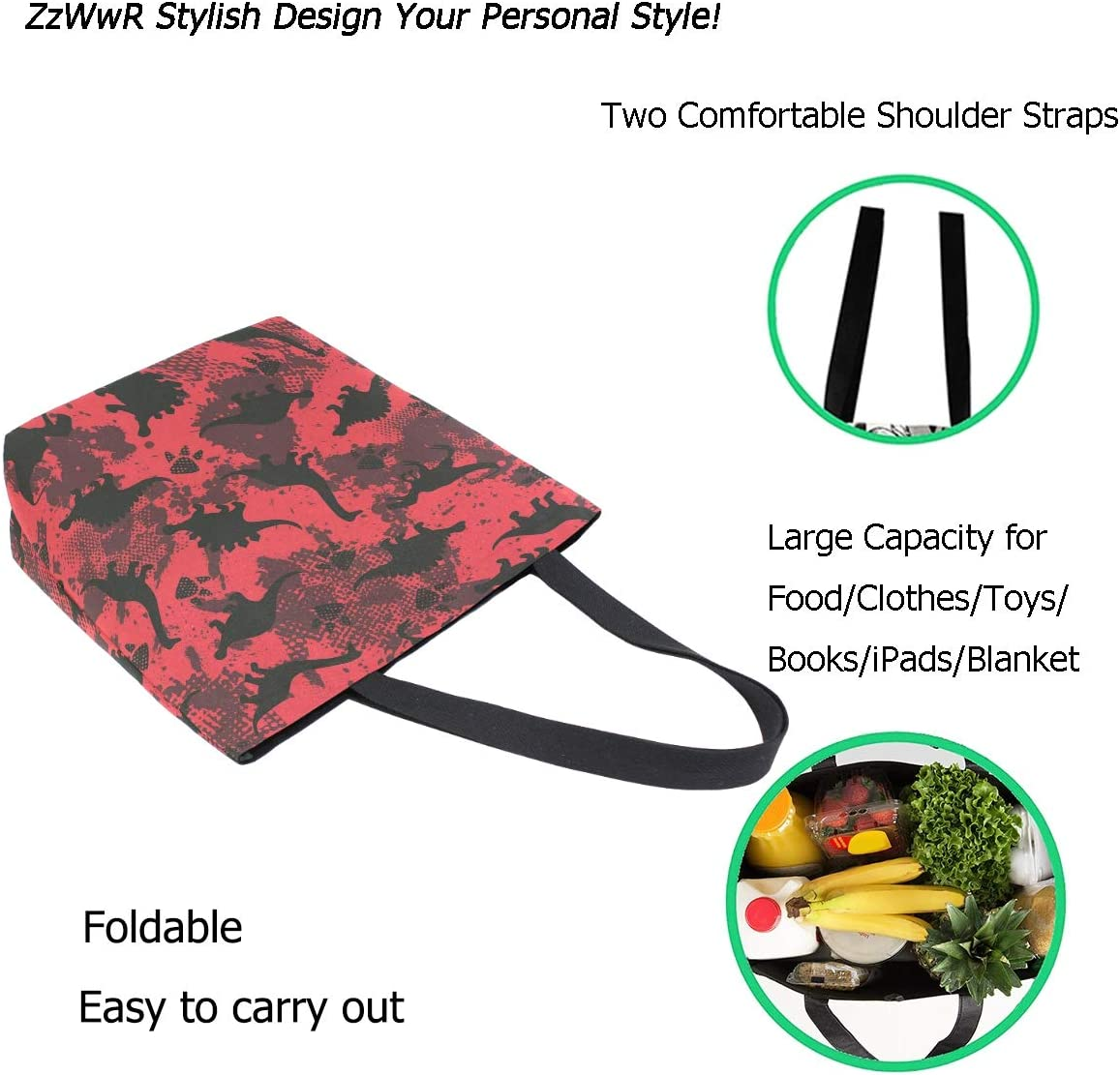 ZzWwR Cute Footprint Dinosaurs Pattern Extra Large Canvas Beach Travel Reusable Grocery Shopping Tote Bag Foldable Portable Storage HandBags