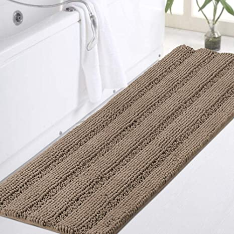 Amazon Com Chenille Bathroom Runner Extra Long Bathroom Rug Shaggy Kitchen Rugs And Mats Shower Rug For Bathroom Rugs Non Slip Absorbent Bath Mat Runner For Kitchen Living Room 47 X 17 Taupe Brown