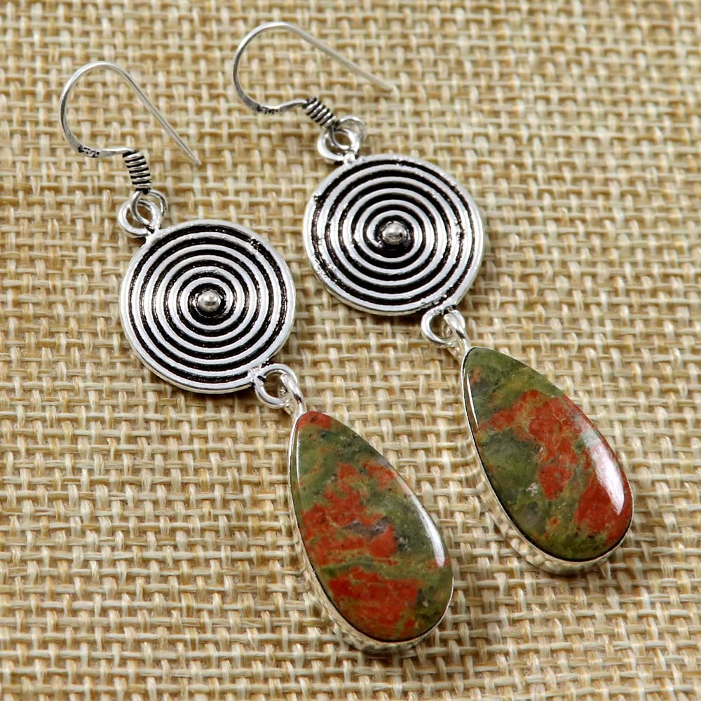 Goyal Crafts Natural Unakite Gemstone Dangle Earring Silver Plated Handmade Jewelry GEC71