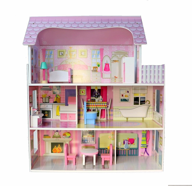 Amazon Com Large Children S Wooden Pink Dollhouse Fits Barbie Doll