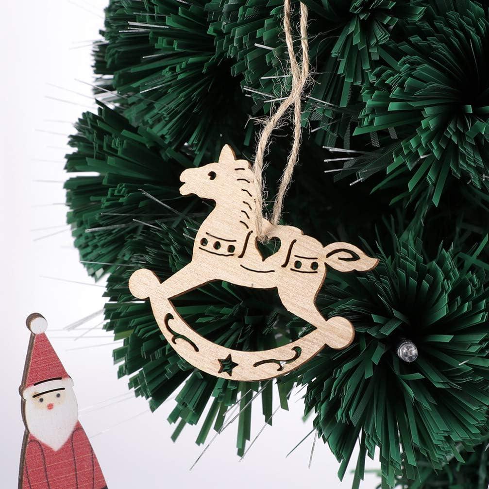 20pcs Rustic Wooden Cutout Gift Tag Christmas Tree Hanging Tags Decor