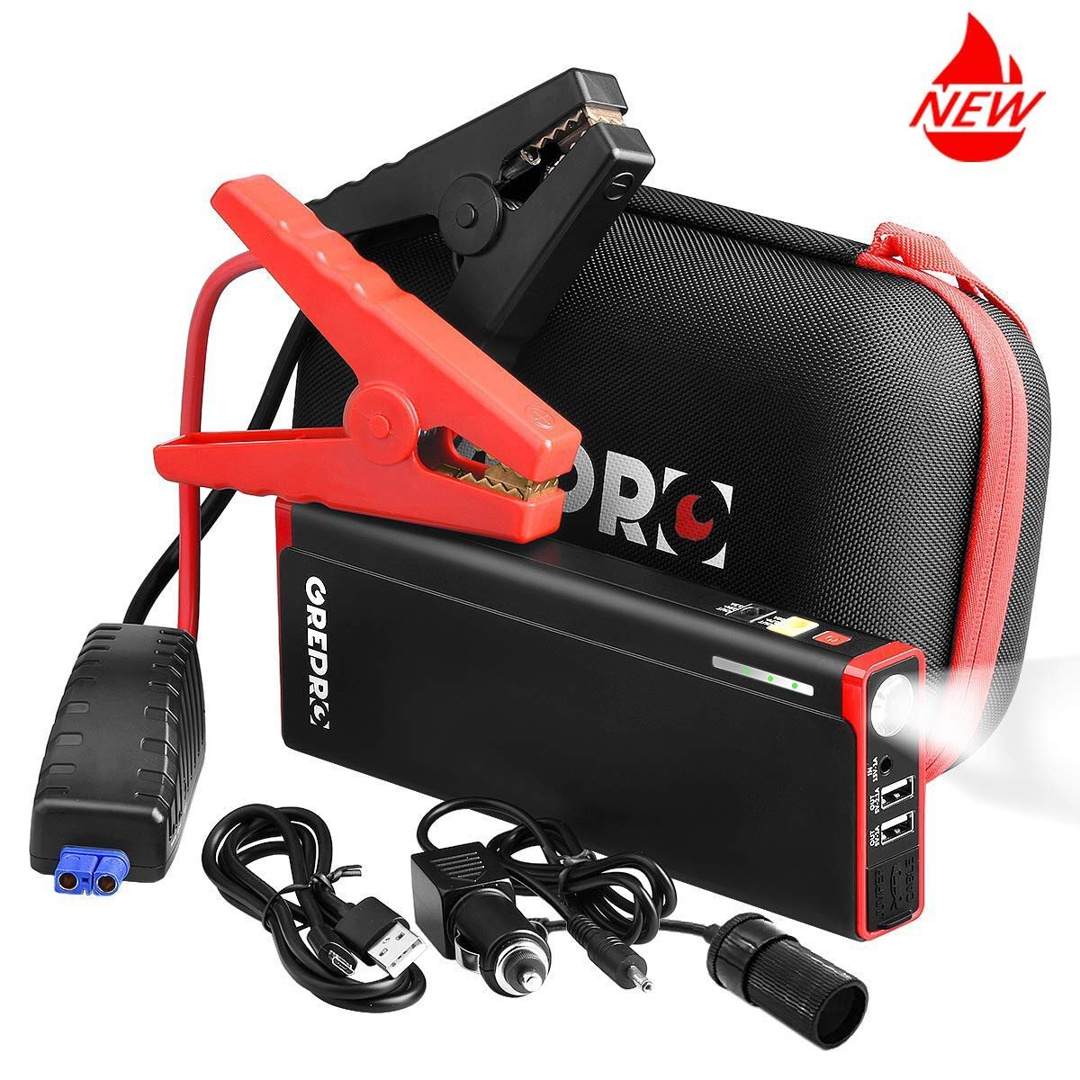 GREPRO Car Jump Starter Kit 500A 9000mAh For 12V Vehicle (up To 4.5L Gas, 2.5L Diesel Engine), Auto Battery Booster With LED Flashlight And LCD Screen, Portable Power Pack With Quick Charge
