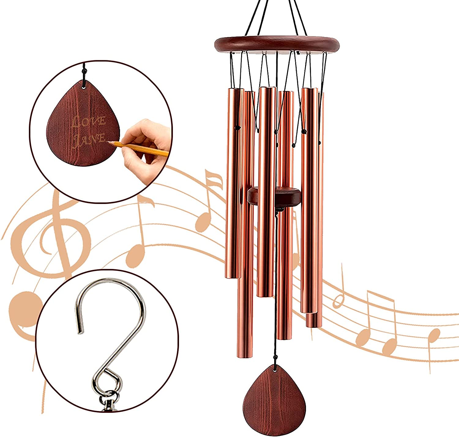 Lumuasky Outdoors Wind Chime, Large Memorial Wind Chimes 6 Aluminum Tubes Wooden Wind Bell, Best Gift Chimes for Outside Patio Garden Decor (Rose Gold, 32 Inch)