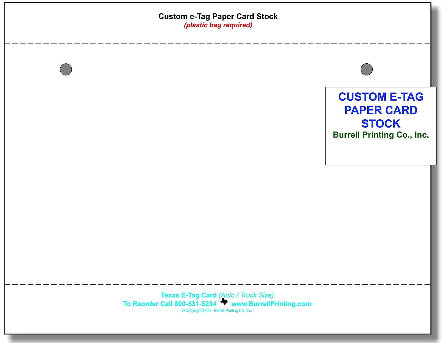 Blank Printable Temporary Tags Pack of 50 E-Tag Custom Sheets for Car Dealers