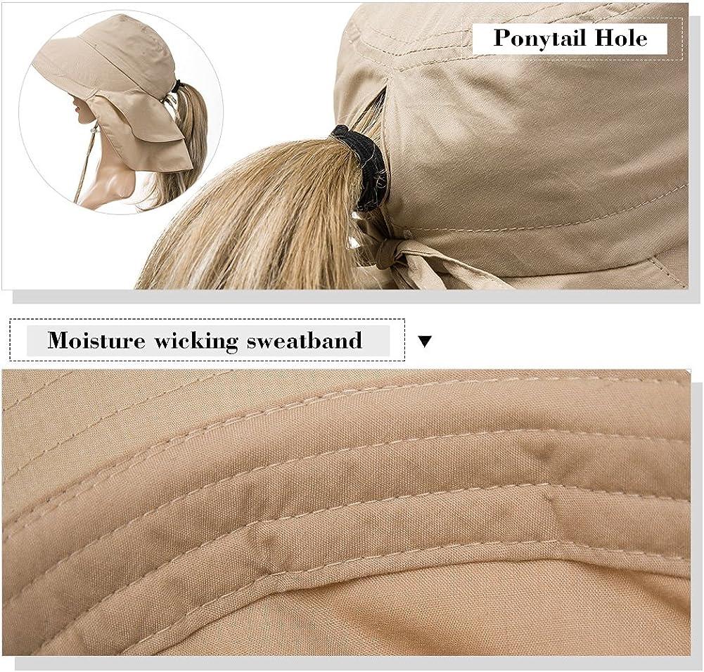 SIGGI Baumwolle Sonnenhut UPF 50 Sonnen Shade mit Nackenschnur breite Krempe