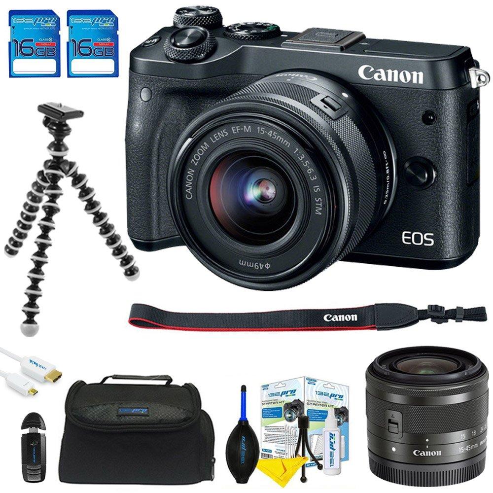 Canon EOS m100ミラーレスデジタルカメラ(ブラック) + EF - 15 – 45 mm f / 3.5 – 6.3 is STMレンズBundled Up 2 16 GB SDメモリカードを+三脚+カードリーダー+カメラバッグ+ MicroHDMIケーブル+ Dust Removalキット   B07CNHDZWW