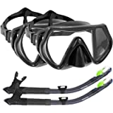 WACOOL Snorkeling Package Set for Adults, Anti-Fog Coated Glass Diving Mask, Snorkel with Silicon Mouth Piece,Purge…