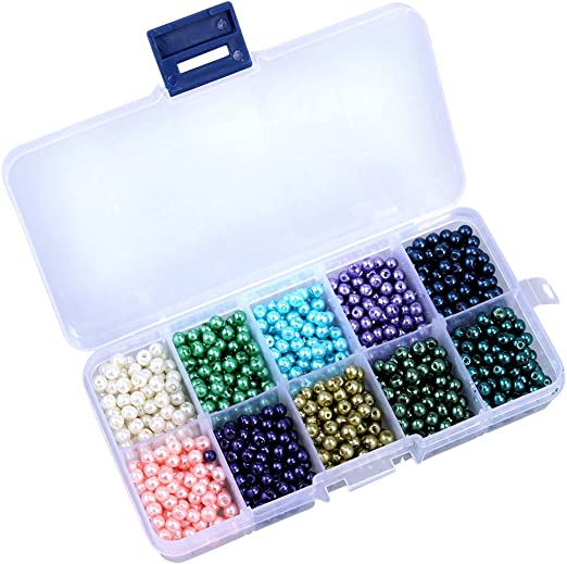 ultnice 10 colores perlas de plástico con caja para DIY Collar Pulsera Bisutería, 1000 unidades: Amazon.es: Hogar
