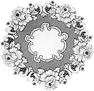 product image for Heritage Lace Vintage Rose 15-Inch Round Doily, White, Set of 2