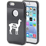 For Apple iPhone 6 6s Shockproof Impact Hard Soft Case Cover No Prob Llama Funny (Black)