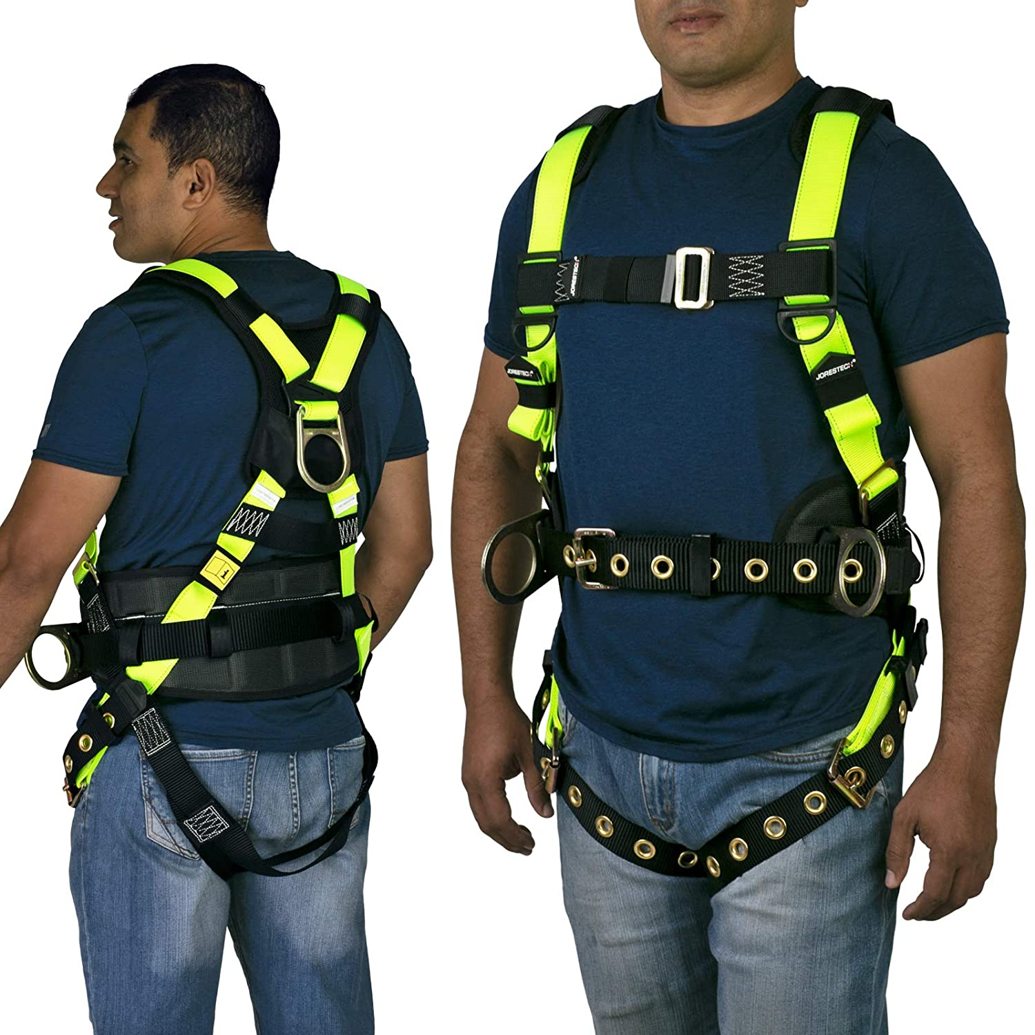 3 D Rings with Grommets JORESTECH Safety Harness Full Body Protection Fall Arrest Yellow//Lime Back D Ring ANSI with High Visibility