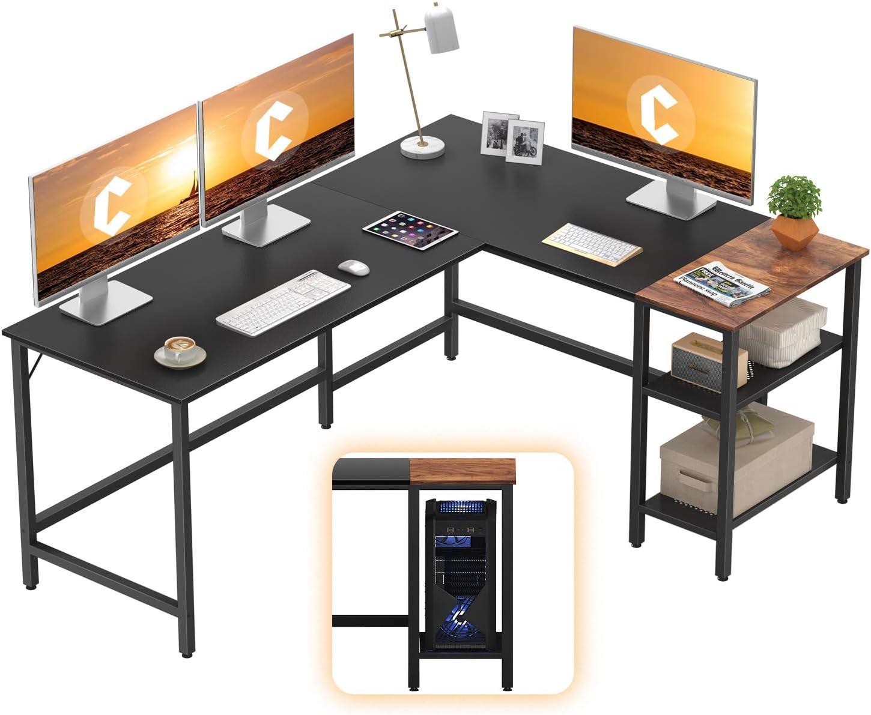 CubiCubi L-Shaped Computer Desk, Industrial Office Corner Desk Writing Study Table with Storage Shelves, Space-Saving, Black/Dark Rustic