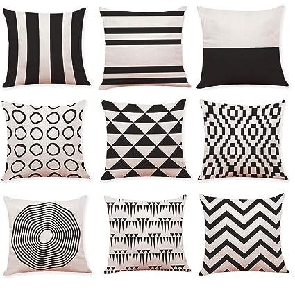 JiaMeng Funda de cojín de Almohada, Cojín de Almohada de geometría Blanco y Negro Funda de Almohada Decorativas para el hogar