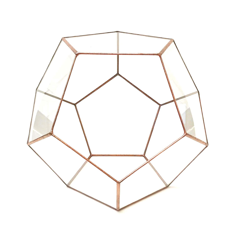 Dodecahedron Terrarium/Geometric Glass Plant Pot/Modern Planter/Handmade in England (Small, Black) Lenka's Terrrariums