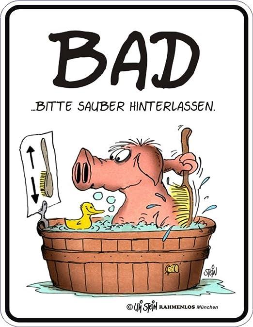 Amazon De Uli Stein Schwein Im Bad Alu Schild Alu Flach Neu 17x22cm