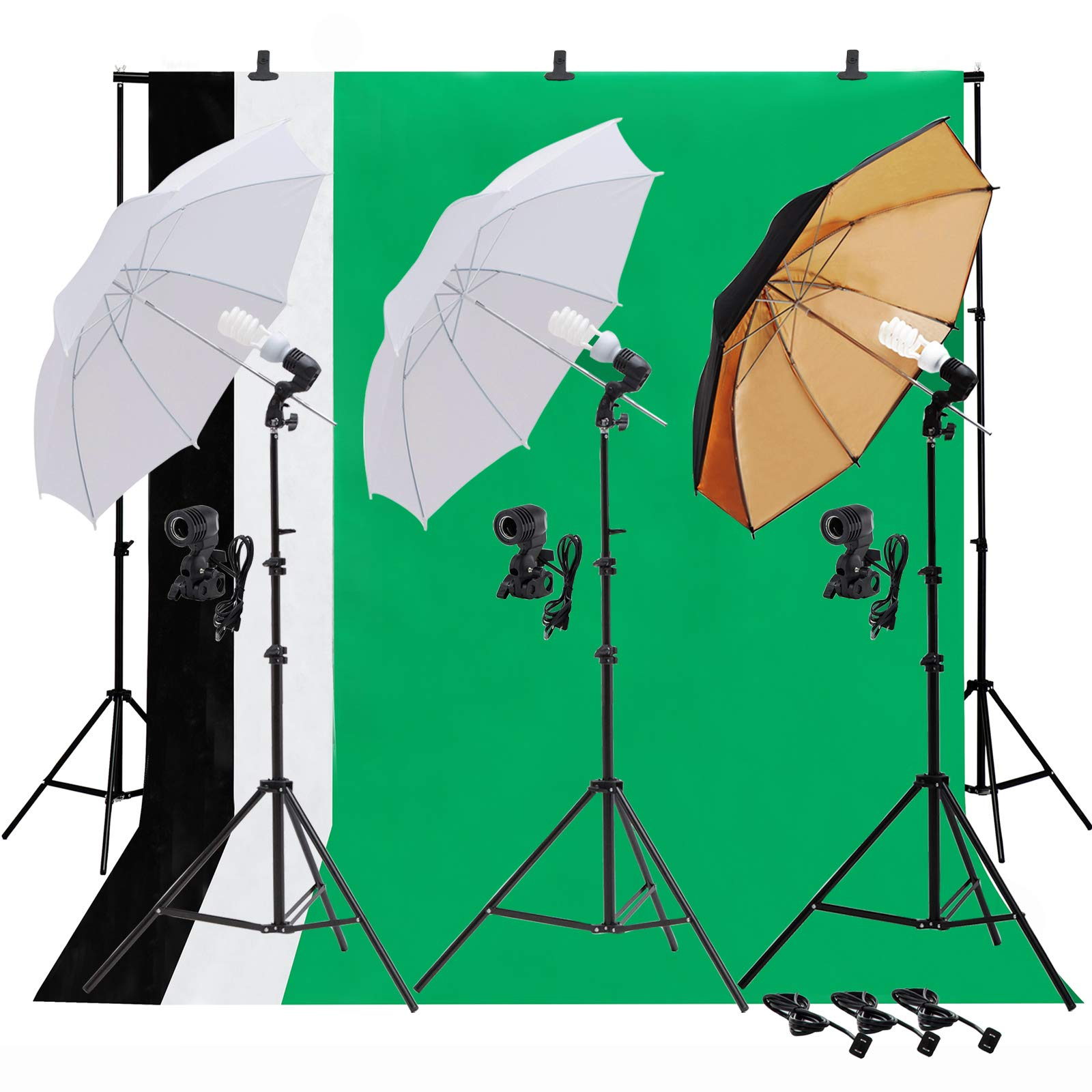 SUNCOO Video Studio Umbrella Lighting Kit,Green Screen with Stand, Continuous Lights with 10ft Background Support Stand System Backdrop Portable Bag, 3 Bulbs, Portfolio Shooting by SUNCOO