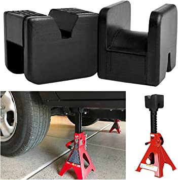 Qmiracle 2 Pack Jack Pads for Jack Stands Universal Slotted Frame Rubber Frame Rail Protector Pinch Weld Protector Rubber Pads for High Lift Steel Jack Stands