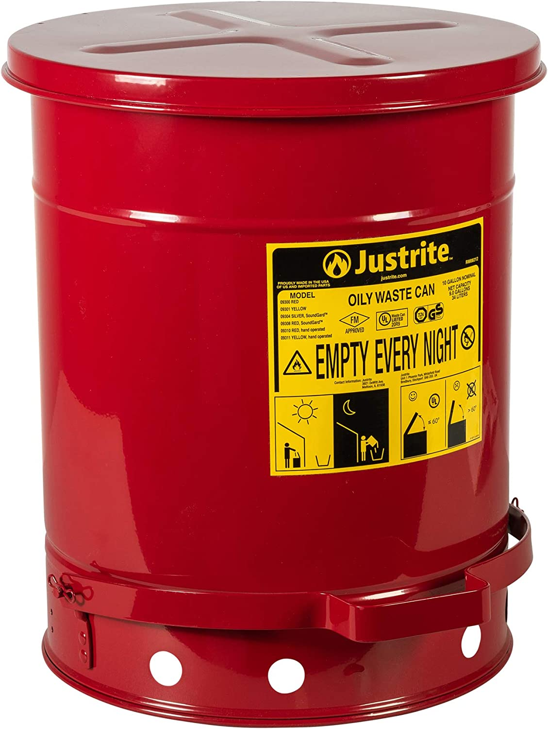Justrite 09300, Galvanized-Steel Safety cans, for Oily Waste, Red, Foot Operated Cover, Raised, Ventilated Bottom, Reinforced Ribs, Self-Closing, UL Listed, FM Approved, Capacity-10 gal. (38L)