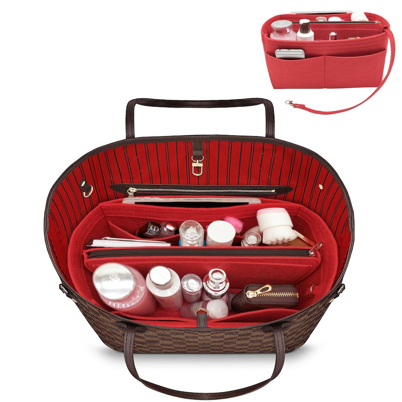 YOOXI Purse Organizer, Multi-Pocket Felt Handbag Organizer, Purse Insert Organizer with Inner Removable Bag Red Medium
