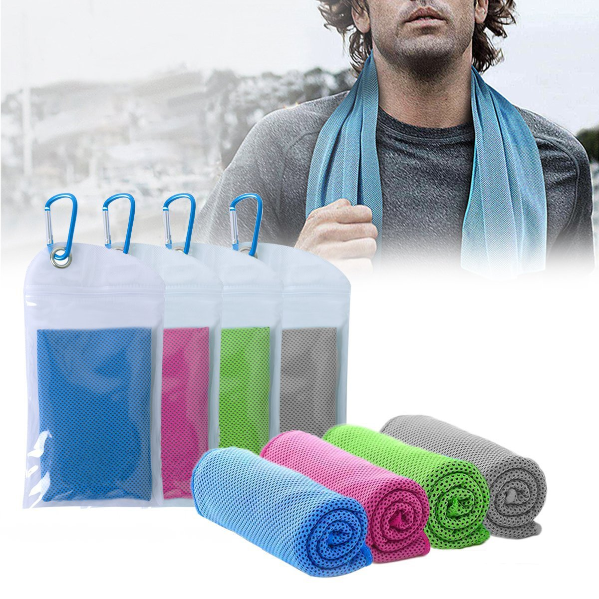 FIRSTBUY Cooling Towel for Instant Cooling Relief, Chilling Neck Wrap, ice cool snap towel, Microfiber Bandana - Chilly Towel For Golf Travel Sports Workout Fitness Gym Yoga Pilates Camping (Blue)