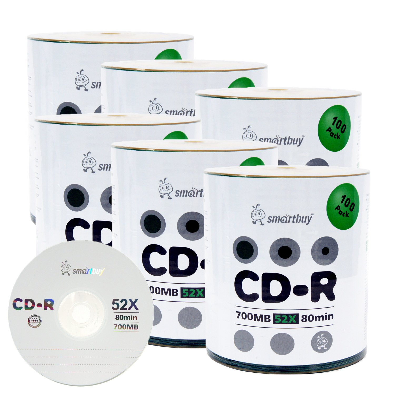 Smartbuy 700mb/80min 52x CD-R Logo Top Blank Data Recordable Media Disc (600 Disc)