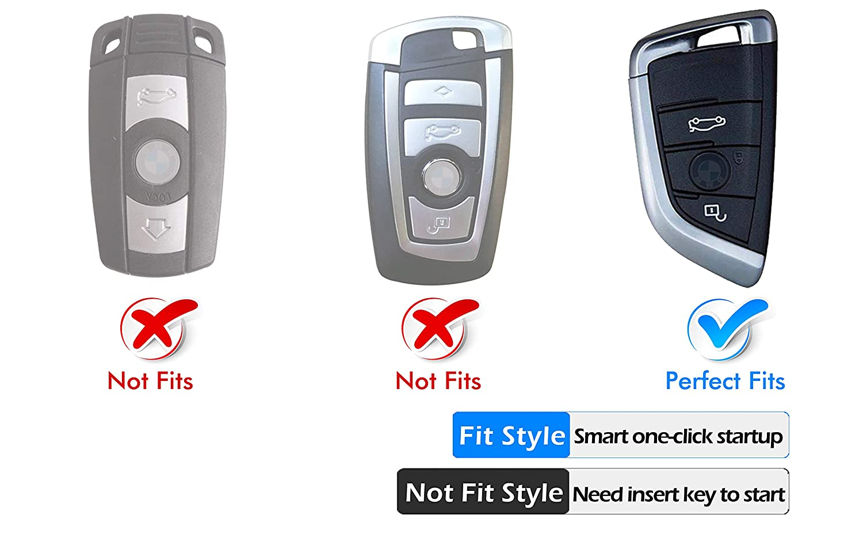 Intermerge for BMW Key Fob Cover,Blade Shape Soft TPU Key Case Shell Pouch for BMW New BMW X1 X2 X3 X5 X6,BMW Series 2 5 6 7 Keyless Entry-Silver Color