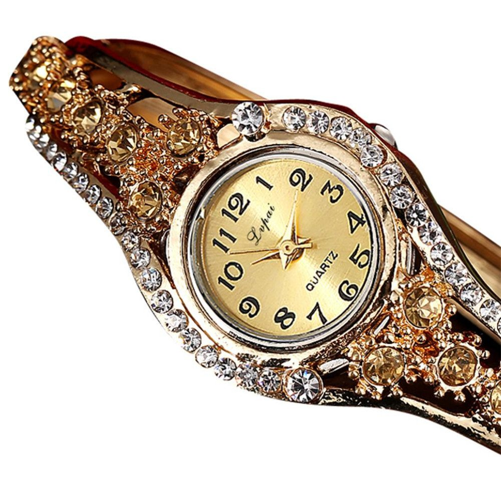 Amazon.com: Dressin Womens Bracelet Bangle Watch,Fashion Rhinestone Small Dial Metal Band Analog Quartz Wrist Watch (Khaki): Clothing