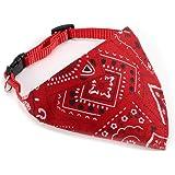 Echarpe Foulard Col Bandana Triangle pour Chien Chat animaux Collier reglable 27cm rouge