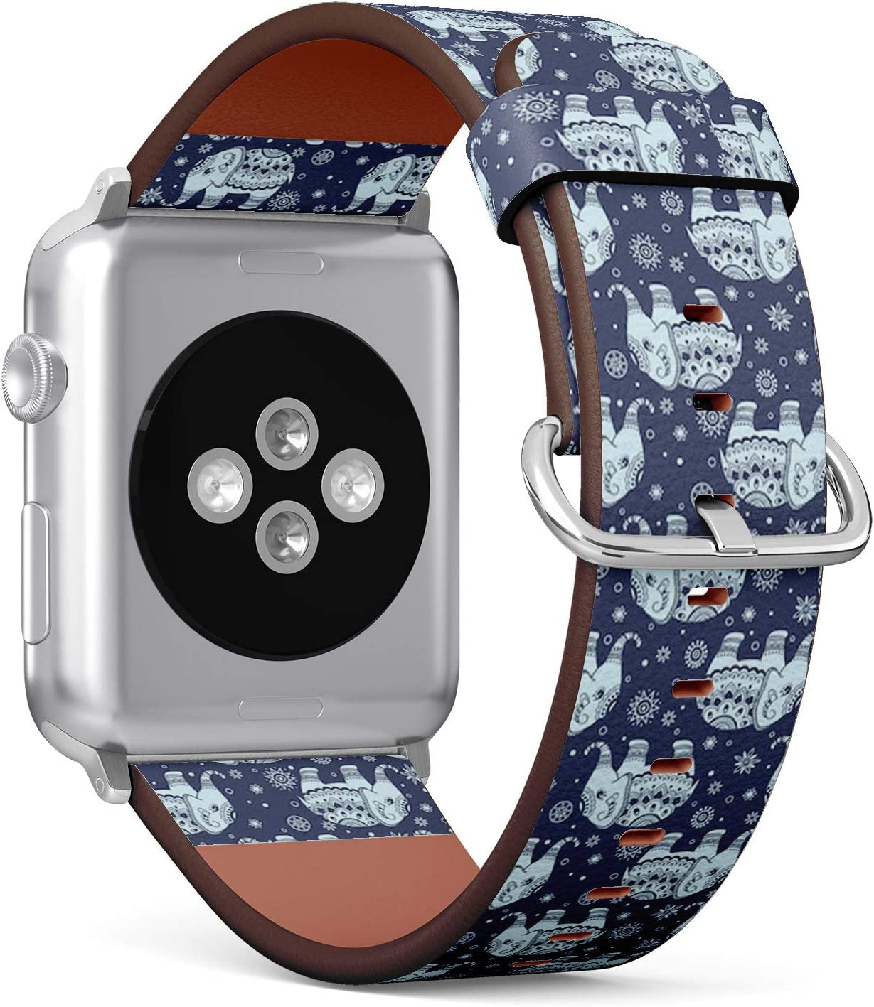 Compatible with Apple Watch 42mm & 44mm (Series 5, 4, 3, 2, 1) Leather Watch Wrist Band Strap Bracelet with Stainless Steel Clasp and Adapters (Tribal Elephant)
