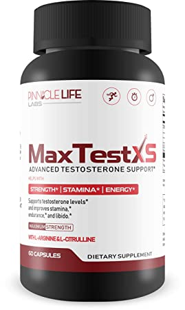 Max Test XS- Advanced Testosterone Support- Helps With Strength Stamina and Energy- W L-Arginine L-Citrulline 60 Capsules