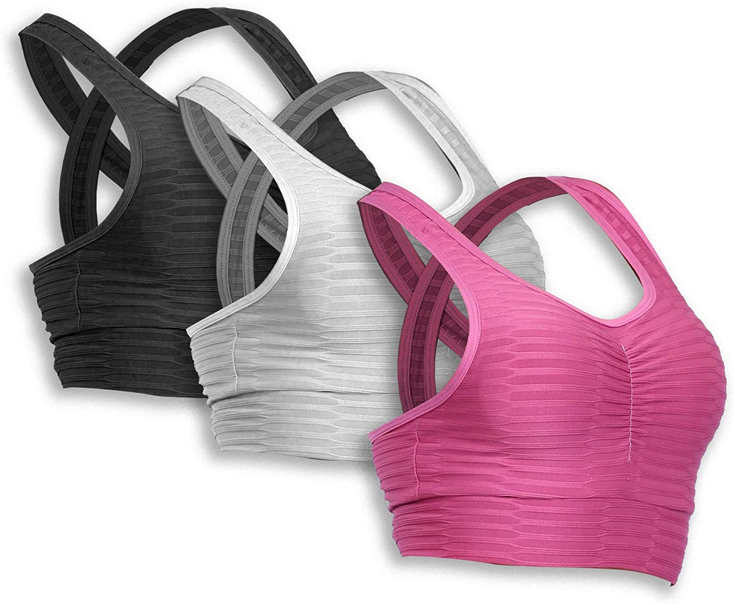 Pack of 3 Removable Cup C Crush Women/'s Ruched Textured Sports Bra Support for Fitness