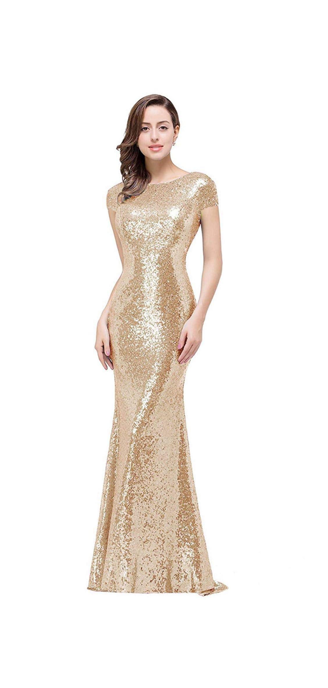 Women Sequins Prom Bridesmaid Dress Glitter Rose Gold