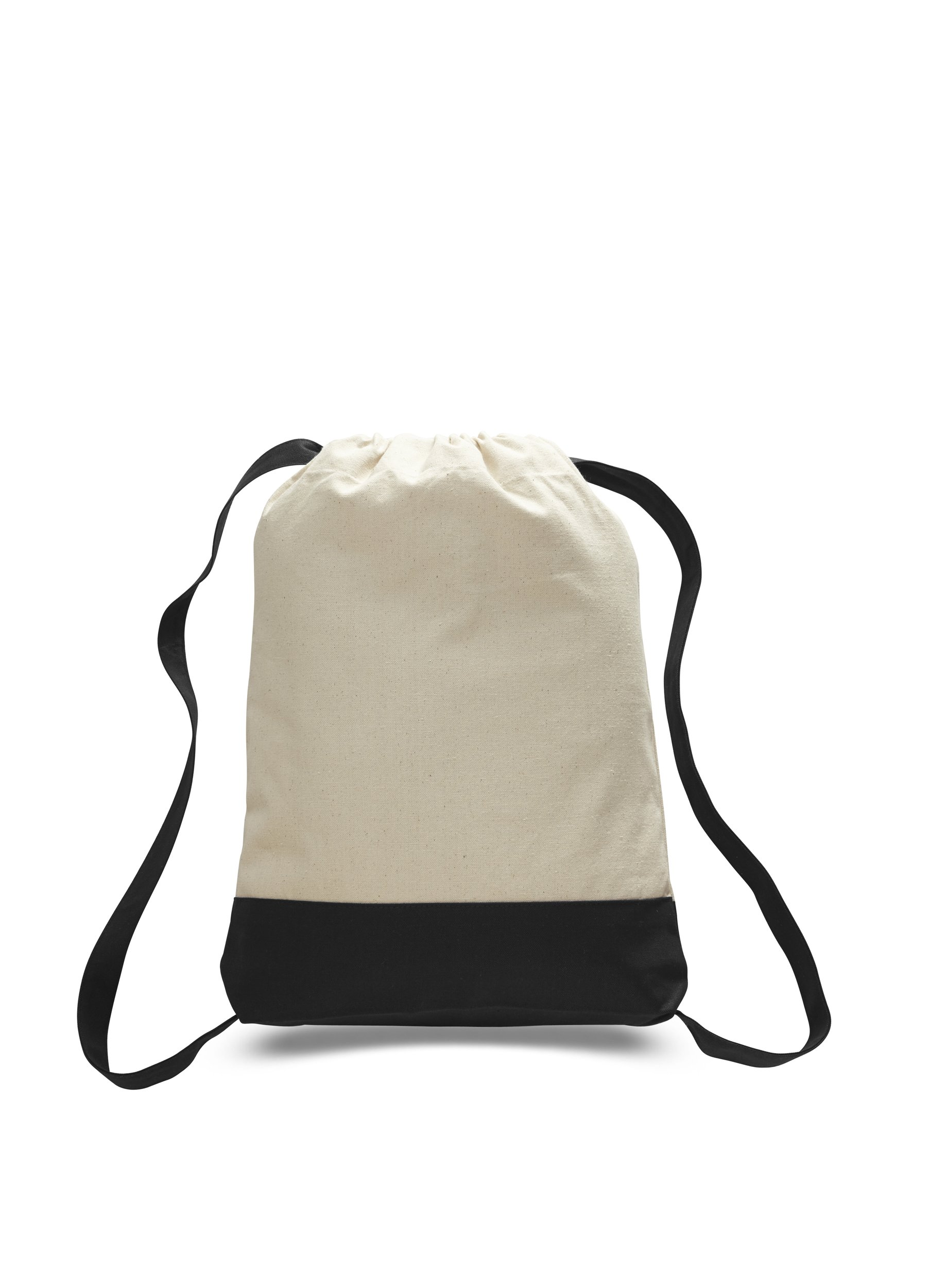 Pack of 12 - Durable Canvas Backpack Bags Two Tone Canvas Sport Promotional Backpacks Bulk - Arts and Crafts Backpacks Sack packs with Adjustable Straps Wholesale Drawstring Bags (Black)