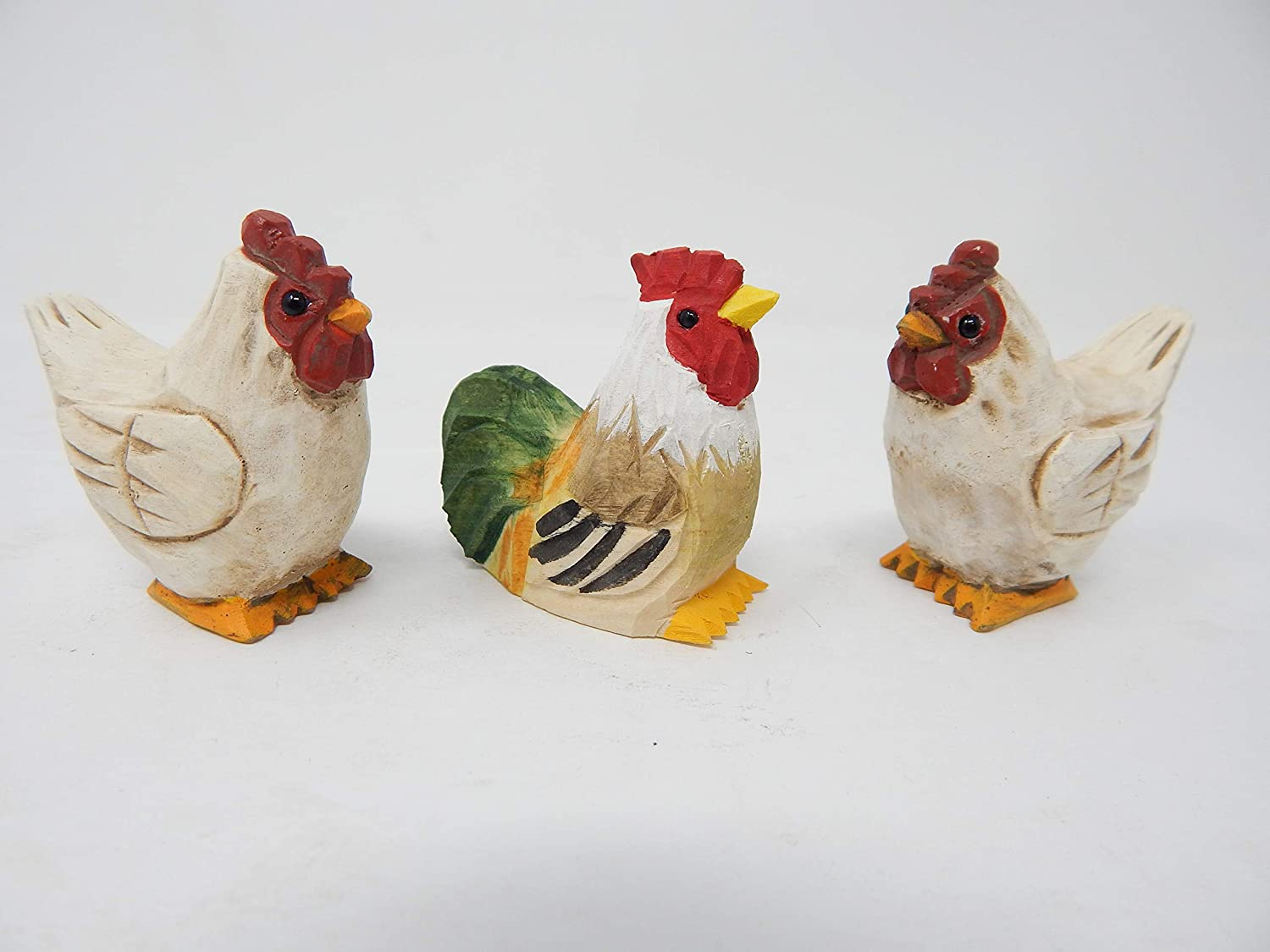 Hens & Rooster - Miniature Hand-Painted Wooden Rooster & Hens Vintage Art Decoy Mini Carved Ornament Figurine Small Farm Chicken Birds.