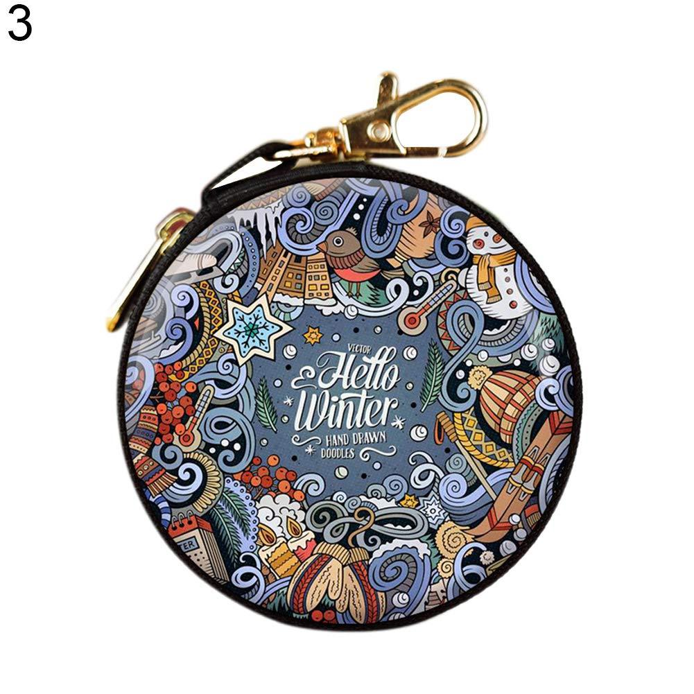 Terzsl Münzbörse mit niedlichem Weihnachtsdruck, runder Reißverschluss, Münzbörse, Kopfhörer 1# runder Reißverschluss Münzbörse Kopfhörer 1#