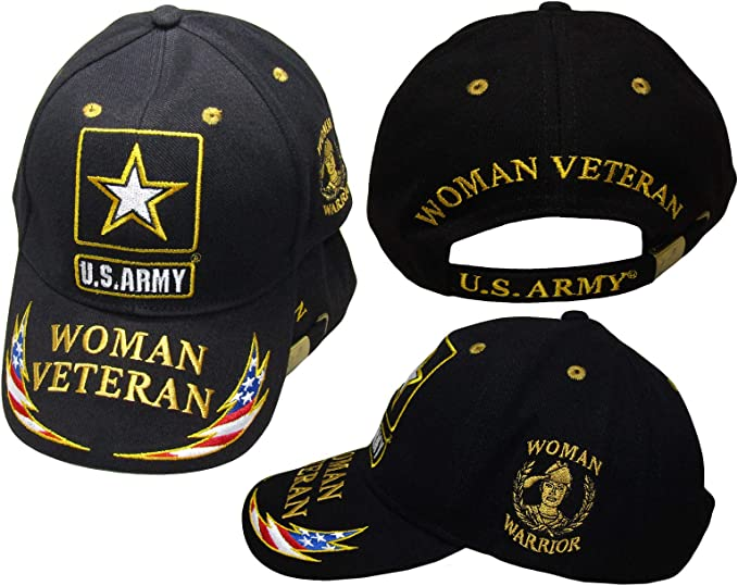 U.S Army Star Woman Veteran Woman Warrior USA Lightning On Bill Black Cap Hat