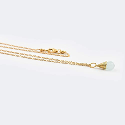 Aquamarine Drop 18K Gold plated Silver Wire wrapped Pendant Chain 16 Gemstone Necklace Jewelry