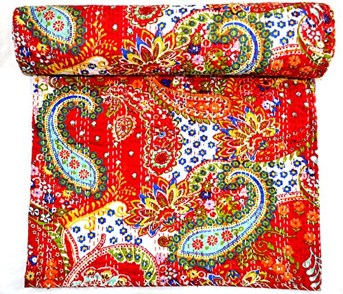 Mad Max Handcrafted, Decorative, Reversible, Hand Quilted Kantha Stitch Quilt, Throw, Bedspread. X1126 ()