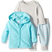Hanes Ultimate Baby Flexy Jogger with Long Sleeve Crew and Fleece Hoodie, Light Blue Stripe, 0-6 Months