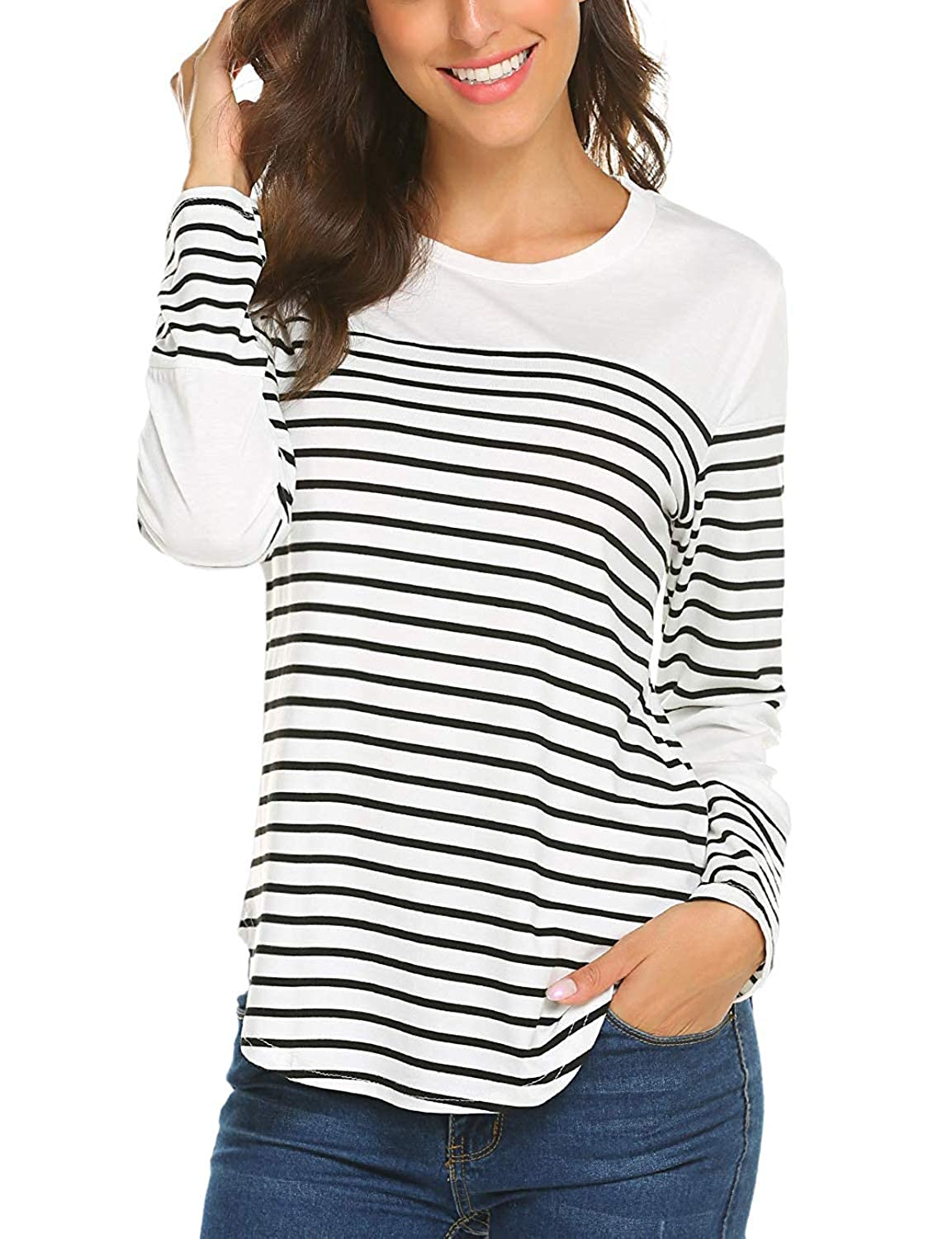 YANDW Women Tops Long Sleeve Tee Shirt Striped Cotton Knit T-Shirt Soft Tunic Blouse T015