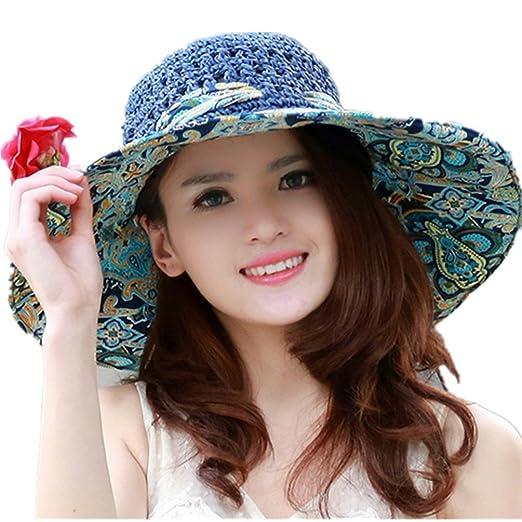 e92888e8a0d Elufly Flower Summer Large Wide Sun Beach Hat for Women Hand Woven Straw Hat  (Blue