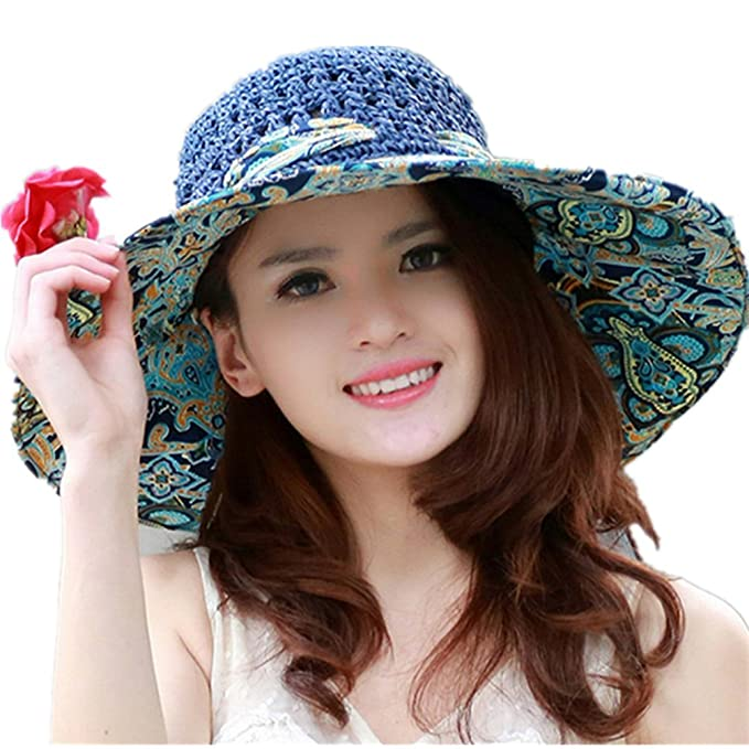 764aeb44dec Elufly Flower Summer Large Wide Sun Beach Hat for Women Hand Woven Straw Hat  (Blue