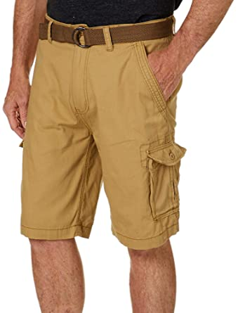 9ab35b103a Image Unavailable. Image not available for. Color: Wearfirst Mens Solid  Ripstop Belted Cargo Shorts ...