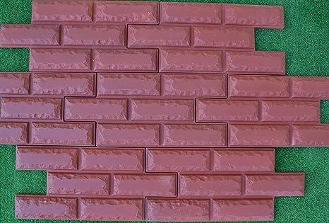 6 chapa de ladrillos de moldes para paredes de hormigón molde de yeso cemento # W07
