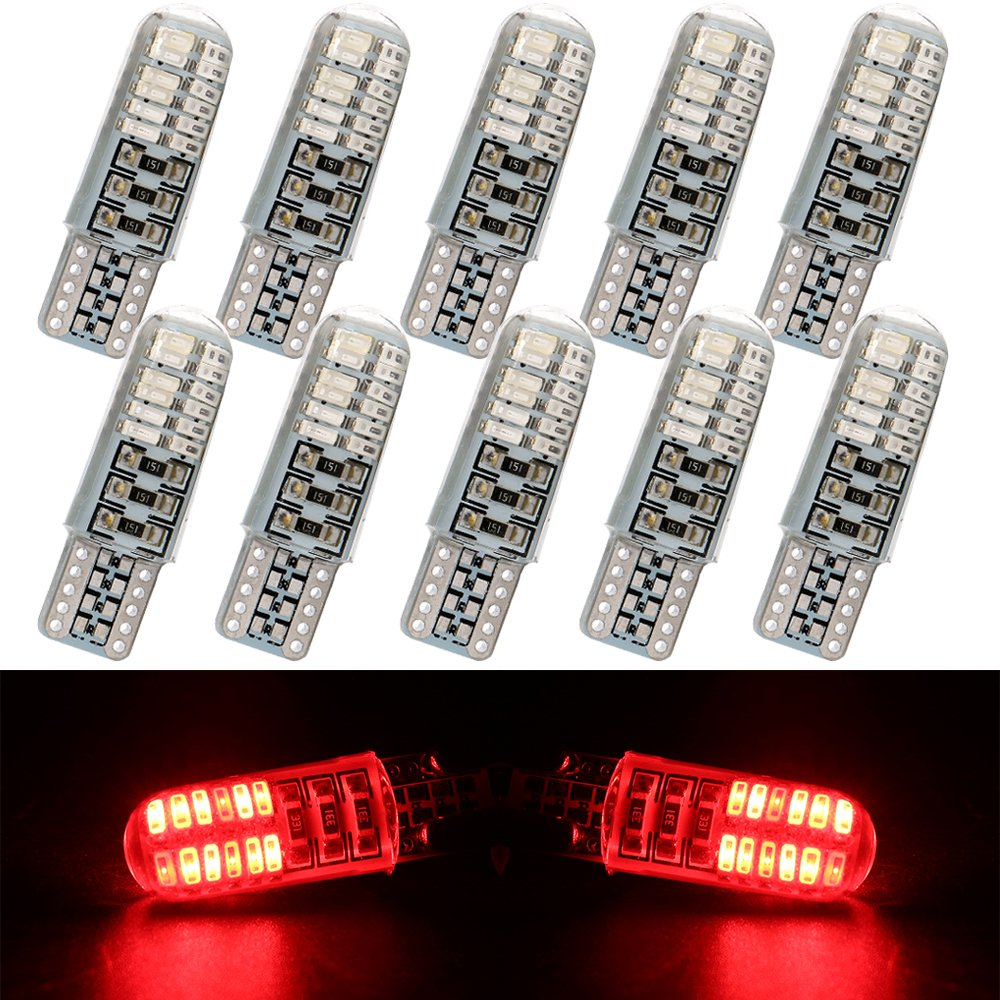 EverBrightt 10-Pack Cool White T10 3014 24SMD Silica LED Interior Bulbs For Car Replacement Lights Trunk Light DC 12V T10-175