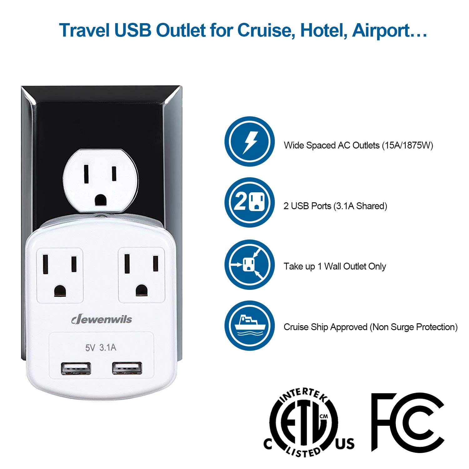 Dewenwils Multi Outlet Plug with 2 USB Ports (3.1A Total), Small Power Strip USB Charger for Cruise Ship/Hotel / Dormitory, Compatible with GFCI, ETL Listed, White by DEWENWILS (Image #2)