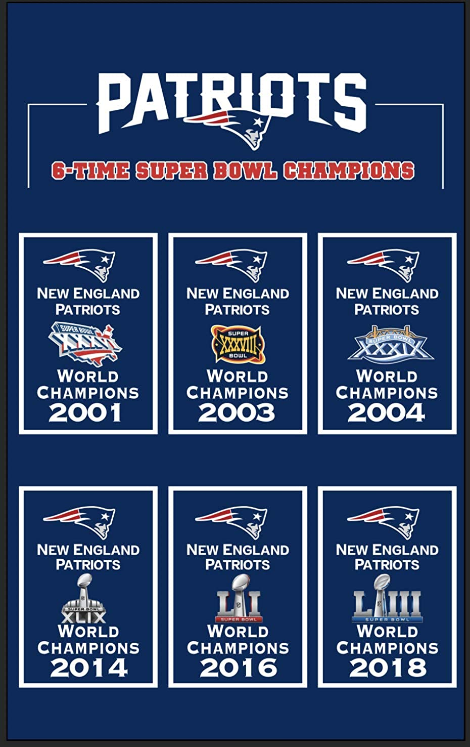 XiaKoMan 6 in 1 Mens The New England 3x5 Patriots Flag Super Bowl 6X Championship with All Super Bowls Champions Gifts for Youth Kids Womens Banner Outdoor/Indoor Patriot Garden Flags